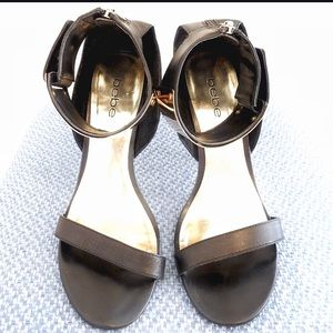 bebe Shoes - Bebe Gold Ankle Cuff Black Leather High Heels